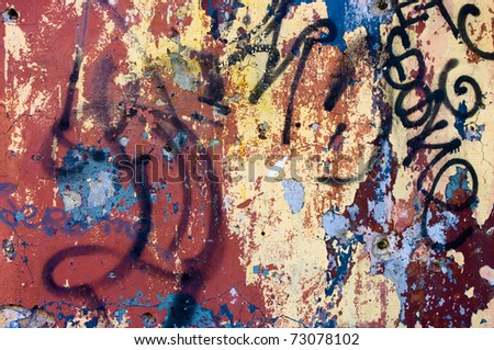 graffiti wall background - stock photo