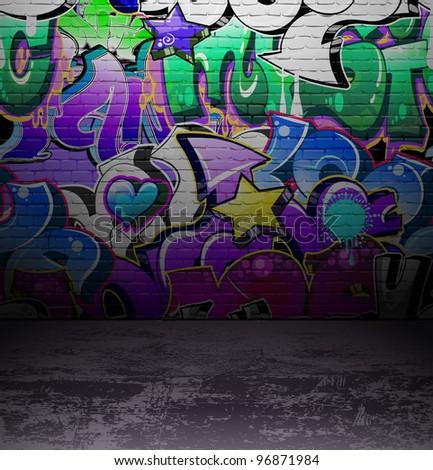 Graffiti wall background, urban street grunge art design - stock photo