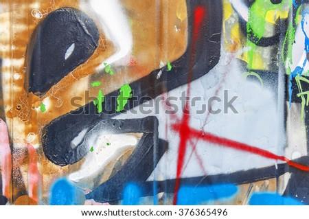 Graffiti wall urban art concrete wall background - stock photo