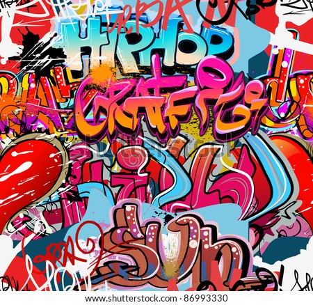 Graffiti wall urban hip hop background - stock photo