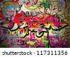 Graffiti wall vector urban art - stock vector