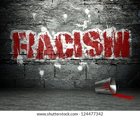 Graffiti wall with racism, street art background - stock photo