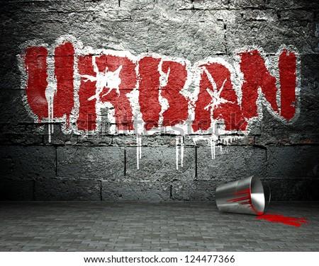 Graffiti wall with urban, street art background - stock photo