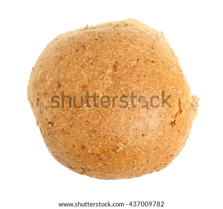 Graham bread roll. Isolated on white background. Directly Above. - stock photo