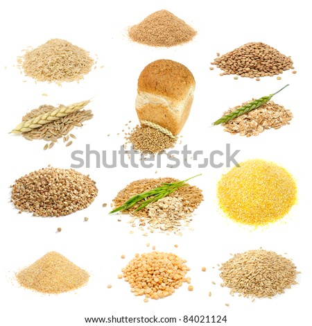 Grain and Cereal Set (Brown Rice, Bran, Lentils, Rye Grains, Wheat Grains and Flakes, Buckwheat, Oats, Corn Grits, Wheat Groats, Split Peas, Whole Oats) Isolated on White Background - stock photo