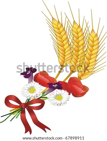 grain and flowers - stock photo