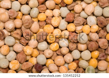 grain beans mixture close-up background - stock photo