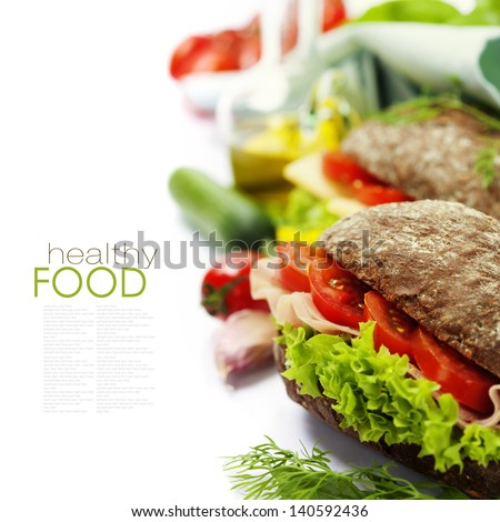 Grain bread sandwiches with ham,cheese and fresh vegetables over white - healthy eating concept (with easy removable sample text) - stock photo
