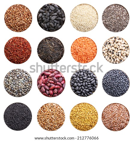 Grain collection isolated on white background. Chia seeds, black and white sesame,rice, lentil, flax. - stock photo