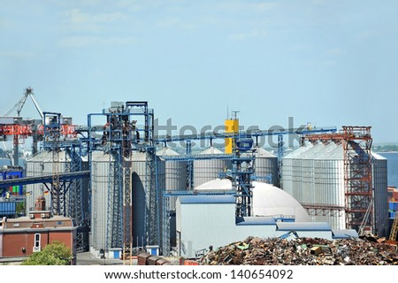 Grain dryer in the port of Odessa, Ukraine