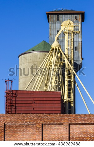 Grain Elevator and Silo on Red Brick Building