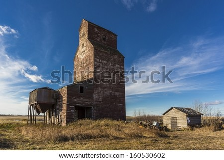 Grain elevators, which have been variously referred to as prairie icons, prairie cathedrals or prairie sentinels, are a visual symbol of western Canada - stock photo