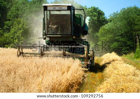 Grain Harvester Combine collecting from the wheat crops - stock photo