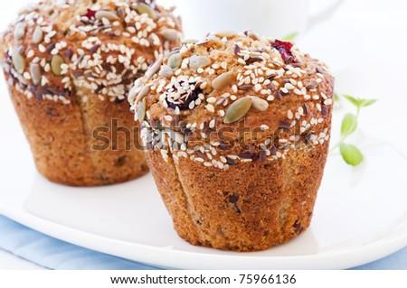 Grain Muffin with Cherry - stock photo