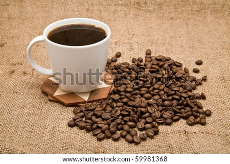 grains and cup of coffee