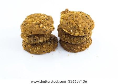 Grains cookies isolated on white background.