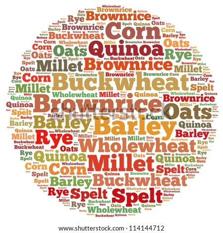 grains info-text graphics and arrangement concept on white background (word cloud) - stock photo