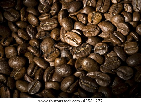 Grains of coffee a background
