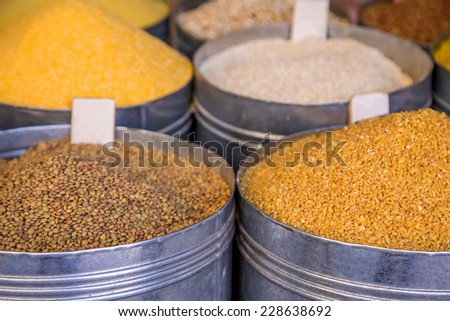 Grains on the market in Marrakech, Morocco - stock photo