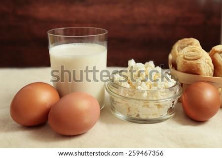 grainy curd egg milk bun rural morning health dairy produce - stock photo