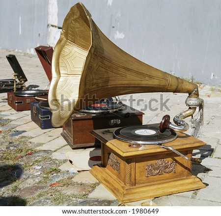 gramophone and patio - stock photo