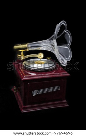Gramophone isolated on black background