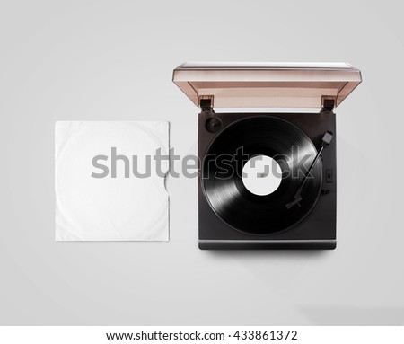 Gramophone vinyl player and record cover sleeve mockup, top view, isolated. Talking machine play blank sound plate mock up. Retro phonograph design from above. Spinning vinyl template audio disc - stock photo