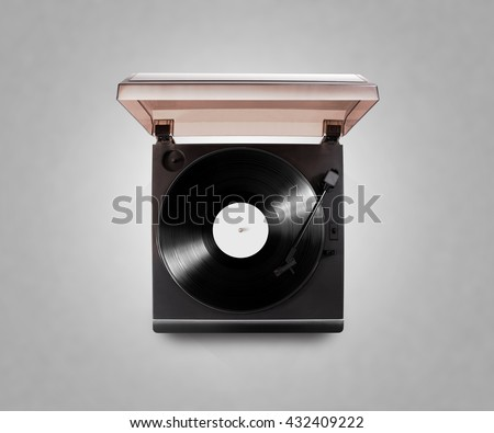 Gramophone vinyl player playing record, top view, isolated, clipping path. Talking machine play blank sound plate mock up. Retro phonograph design from above. Spinning vinyl record template audio disc - stock photo