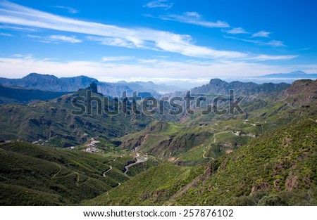 Gran Canaria, Caldera de Tejeda, Roque Bentayga and Teide on Tenerife visible