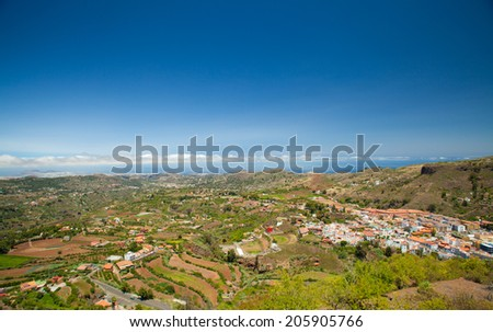Gran Canaria, Vega de San Mateo from the viewing point Mirador de Montana Cabreja - stock photo