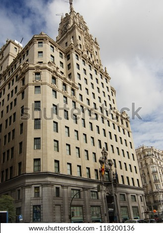 Gran Via of madrid with the famous building of telephone - stock photo