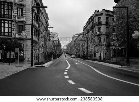 Gran Via street, Granada center - stock photo