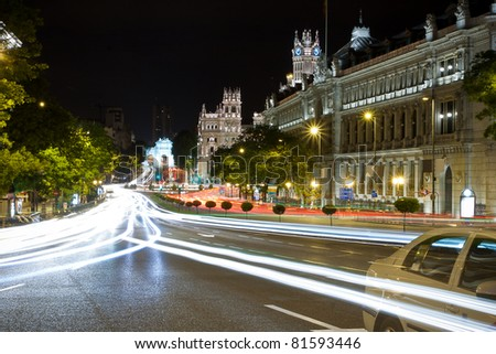 Gran via street in Madrid, Spain at night - stock photo