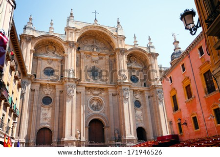 Granada Cathedral in Spain , Cathedral of the Incarnation, Andalusia XIV century - stock photo