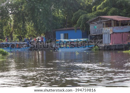 Granada, Nicaragua - December 23, 2015: Tourtist group on boat visiting the islands of granada