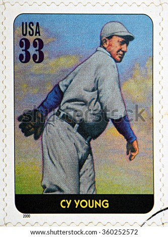 GRANADA, SPAIN - DECEMBER 1, 2015: A stamp printed in USA dedicated to Legends of Baseball shows Cy Young, 2000 - stock photo
