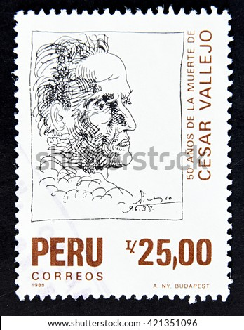 GRANADA, SPAIN - MAY 15, 2016: A stamp printed in Peru shows Cesar Vallejo, 1988 - stock photo