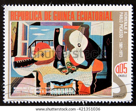 GRANADA, SPAIN - MAY 15, 2016: A stamp printed in Republic of Equatorial Guinea shows paint by Pablo Picasso, circa 1988 - stock photo