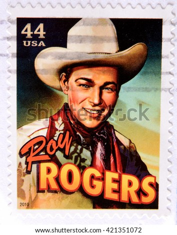 GRANADA, SPAIN - MAY 15, 2016: a stamp printed in USA shows Roy Rogers, 2010 - stock photo