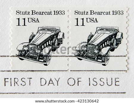 GRANADA, SPAIN - MAY 15, 2016: Stamp printed in USA shows the Stutz Bearcat car, First Day of Issue, circa 1985 - stock photo