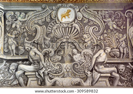 GRANADA, SPAIN - MAY 29, 2015: The baroque fresco in nave of church Monasterio de San Jeronimo by Juan de Medina from 18.cent.