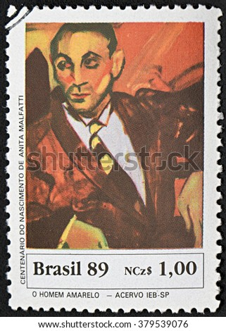 GRANADA, SPAIN - NOVEMBER 30, 2015: a stamp printed in Brazil shows Yellow Man by Anita Malfatti, 1989 - stock photo