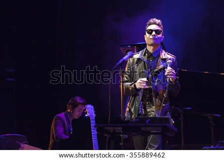 GRANADA - SPAIN, NOVEMBER 12, 2015: Jose James, at 36 Granada International jazz festival. Jose James, singer and guitar, Takeshi Ohbayashi, piano.