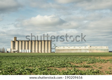 Granaries for storing wheat and other cereal grains in French countryside - stock photo