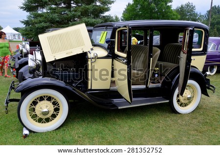 GRANBY QUEBEC CANADA 07 29 2013: Ford Model A of 1928-1931, A-Model Ford or the A, and A-bone among rodders and customizers was the second huge success for the Ford Motor Company, after the Model T - stock photo