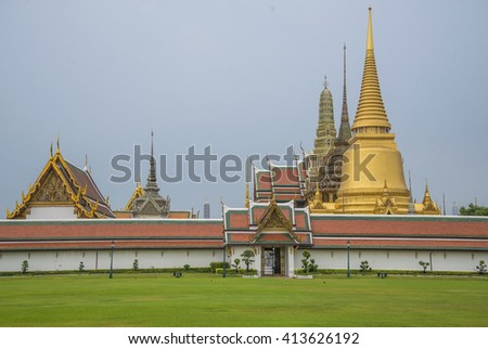 Grand architecture a venue now mostly used for ceremonial events The Buddhist temple of Wat Phra Kaeo at the Grand Palace in Bangkok, Thailand - stock photo