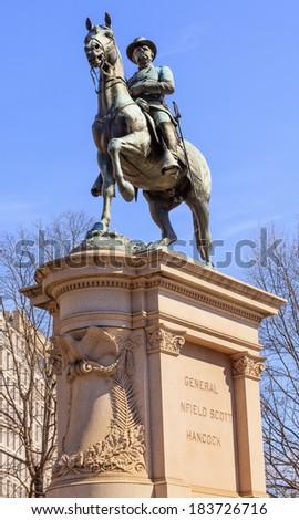 Grand Army of the Republic Memorial (Stephenson), Civil War memorial, Golden Dome, Flags, Pennsylvania Avenue, Washington DC.  Dedicated on July 3, 1909; artist was J. Massey Rhind.  - stock photo