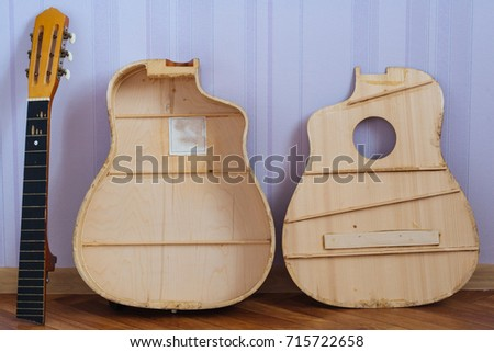 Grand auditorium guitar parts restoration opened stock photo grand auditorium guitar parts for restoration opened body back of a deck and a sciox Gallery