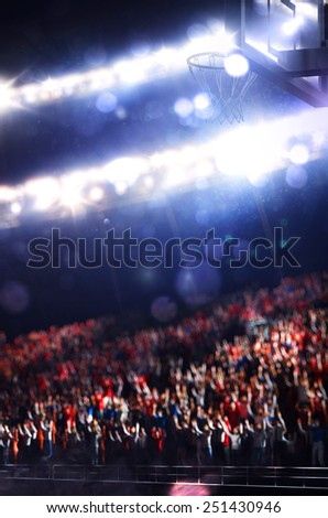 Grand basketball arena with spectators on background - stock photo