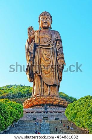 Grand Buddha at Ling Shan, China. Illustration - stock photo